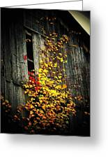 Leaves On An Old Barn Greeting Card by Joyce Kimble Smith