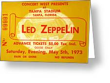 Led Zeppelin Ticket Greeting Card