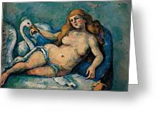 Leda And The Swan Greeting Card by Paul Cezanne