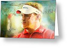 Lee Westwood Winning The Portugal Masters 2009 Greeting Card