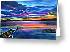 Left Alone A Seascape Boat Painting At Sunset  Greeting Card