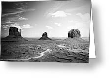 Left And Right Mittens And Merrick Butte Black And White Greeting Card by Ryan Kelly