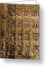 Left Half - The Golden Retablo Mayor - Cathedral Of Seville - Seville Spain Greeting Card