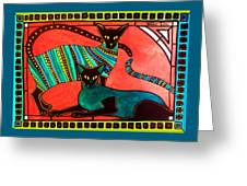 Legend Of The Siamese - Cat Art By Dora Hathazi Mendes Greeting Card