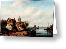 Leickert Charles A Village Along A River A Town In The Distance Greeting Card