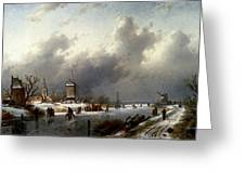 Leickert Charles Henri Joseph A Frozen Winter Landscape With Skaters Greeting Card