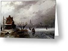 Leickert Charles Henri Joseph Figures On A Frozen Lake Greeting Card