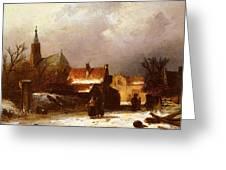 Leickert Charles Henri Joseph Figures On The Snow Greeting Card