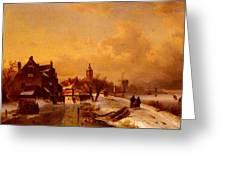 Leickert Charles Henri Joseph Winter And Summer Canal Scenes Scene  Greeting Card
