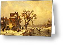 Leickert Charles Skaters In A Frozen Winter Landscape Greeting Card