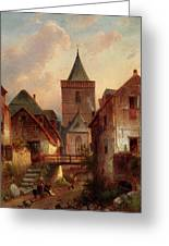 Leickert Charles View In A German Village With Washerwomen Greeting Card