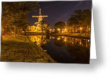 Leiden Windmill By Night Greeting Card