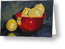 Lemons And Red Bowl IIi Greeting Card