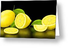 Lemons-black Greeting Card