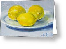 Lemons On A White Plate Greeting Card