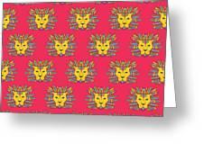 Leo Zodiac Sign Pattern Greeting Card