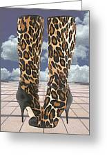 Leopard Boots With Ankle Straps Greeting Card