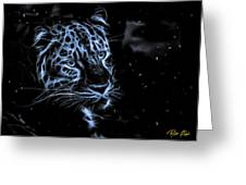 Leopard In The Darkness.  Greeting Card