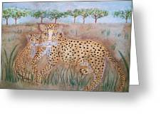 Leopard With Cub Greeting Card