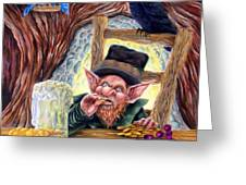 Leprechaun's Lair Greeting Card by Heather Calderon
