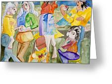 Les Demoiselles Of Santa Cruz V3 Greeting Card by Susan Cafarelli Burke