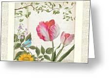 Les Magnifiques Fleurs I - Magnificent Garden Flowers Parrot Tulips N Indigo Bunting Songbird Greeting Card