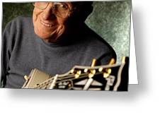Les Paul With His White Gibson Les Paul Custom Guitar By Gene Martin Greeting Card