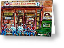 Les Scenes De Pointe St Charles Les Produits Smoked Meat Avec Partie De Hockey Greeting Card