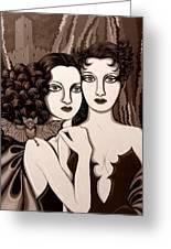 Les Vamperes In Sepia Tone Greeting Card