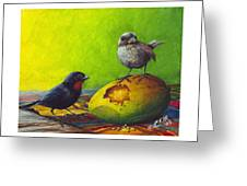 Lesser Antillean Bullfinches And Mango Greeting Card