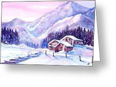 Swiss Mountain Cabins In Snow Greeting Card