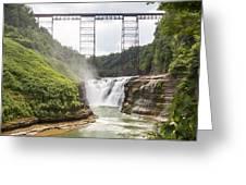 Letchworth Upper Falls Greeting Card by Michael Chatt
