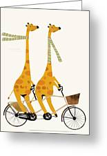 Lets Tandem Giraffes Greeting Card