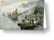 Lewis And Clark On The Lower Columbia River Greeting Card