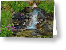 Lewis Monkey Flowers And Cascade Greeting Card