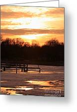 Lexington Harbor Sunset Greeting Card by Kathy DesJardins