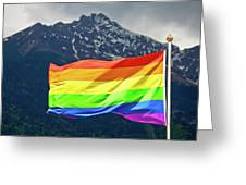 Lgbtq Rainbow Flag With Snowy Mountain Background View Greeting Card