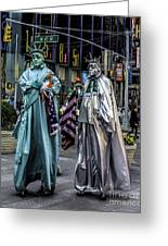 Liberties In Times Square Greeting Card