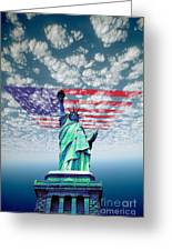 Liberty And Flag Greeting Card