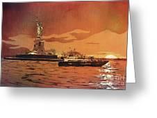 Liberty Island- New York Greeting Card
