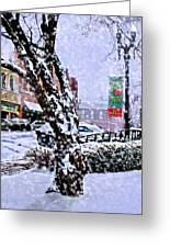 Liberty Square In Winter Greeting Card