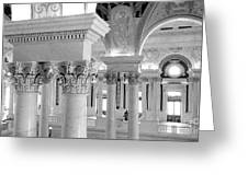 Library Of Congress 2 Black And White Greeting Card
