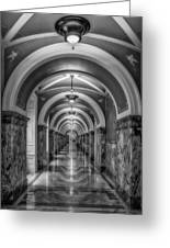 Library Of Congress Building Hallway Bw Greeting Card