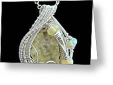 Libyan Desert Glass Meteorite Impactite Pendant In Sterling Silver With Ethiopian Opals Ldgpss11 Greeting Card