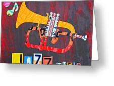 License Plate Art Jazz Series Number One Trumpet Greeting Card
