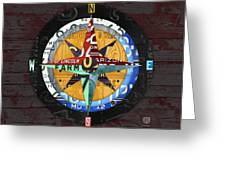 License Plate Compass North South East West Road Trip Letters On Old Red Barn Wood Greeting Card