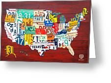 License Plate Map Of The United States - Midsize Greeting Card