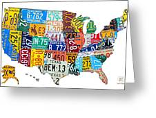 License Plate Map Of The United States Outlined Greeting Card by Design Turnpike