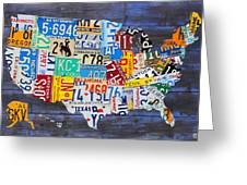 License Plate Map Of The Usa On Blue Wood Boards Greeting Card