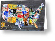 License Plate Map Of The Usa On Gray Distressed Wood Boards Greeting Card